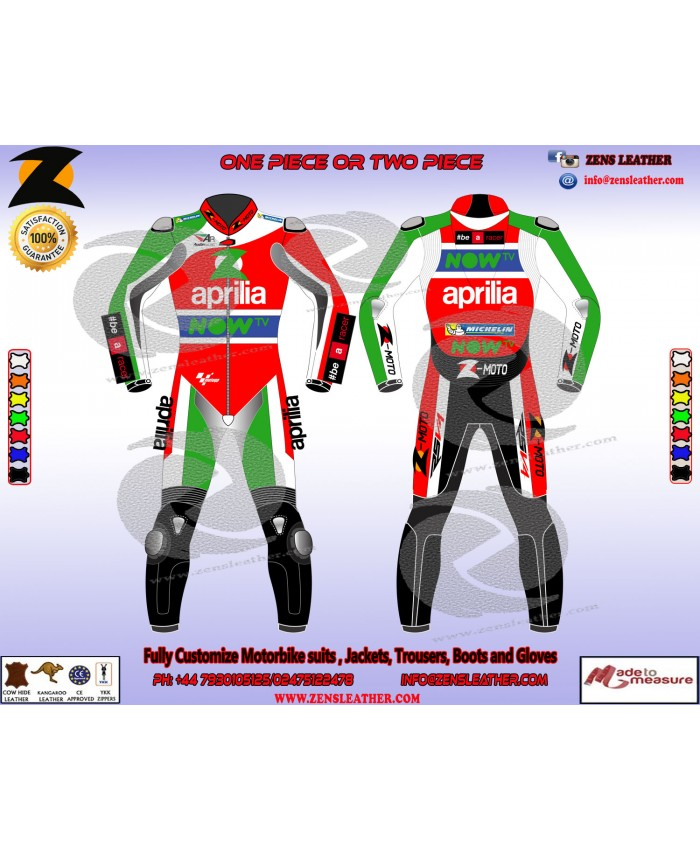 Aleix Motogp style motorbike leather suit aprilia racing leather suit