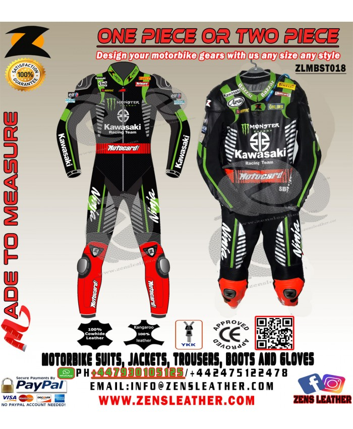 JONATHAN REA KAWASAKI NINJA MOTOCARD SBK 2018 LEATHER RACE SUIT ONE PIECE OR TWO PIECE