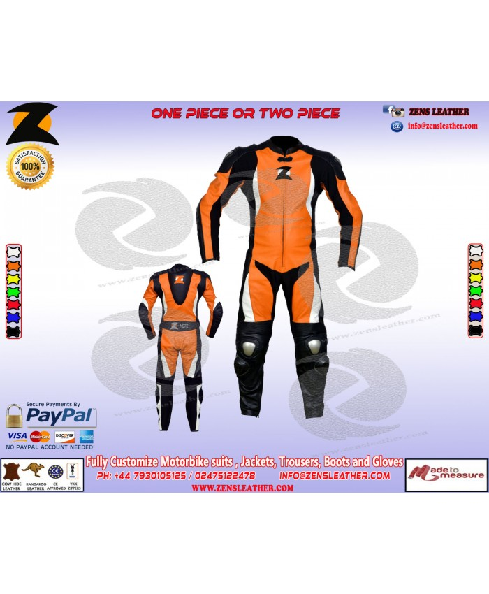 Orange racing leather suit SBK style racing gears suitable for track with speed hump full perforated front
