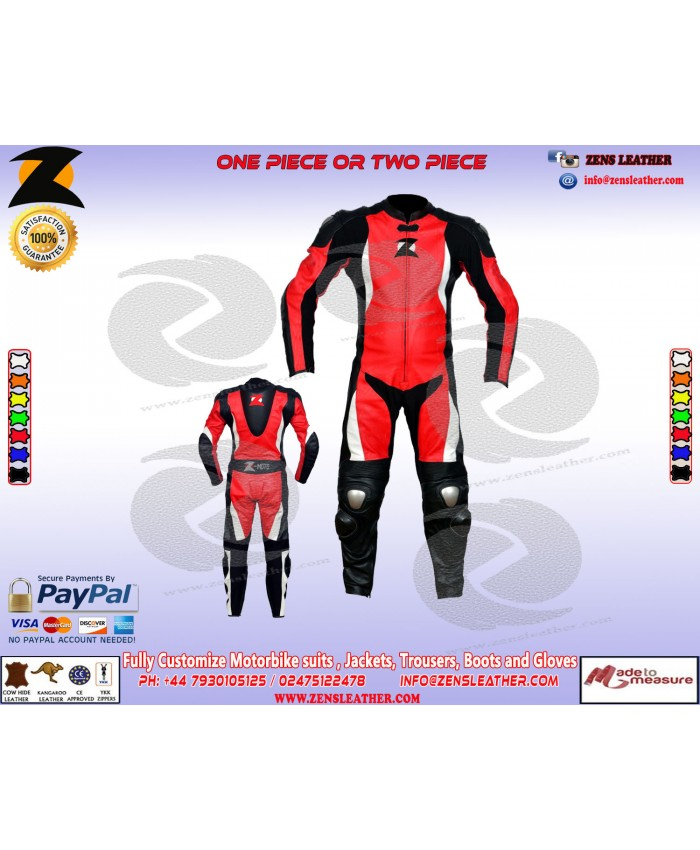 Red motorbike one piece leather suit speed hump perforated leather in front comes with ce approved armours