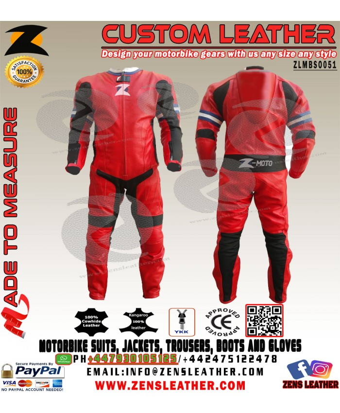Motorbike racing 2018 track leather suit side car leather suit in red with blue and white lining any size and colour