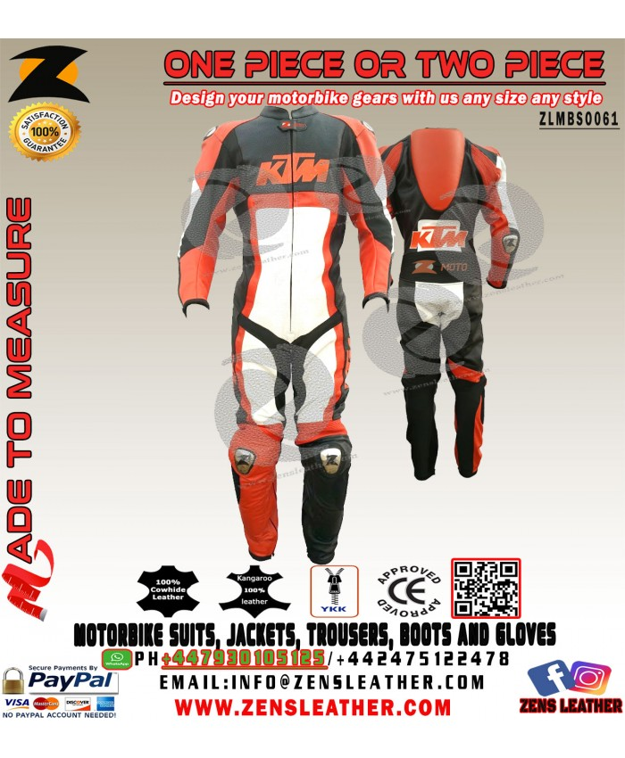 Ktm Motorbike eather suit orange and white one piece suit with speed hump