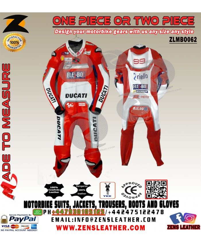 Jorge Lorenzo Ducati Corse Motorcycle Leather Suit any size