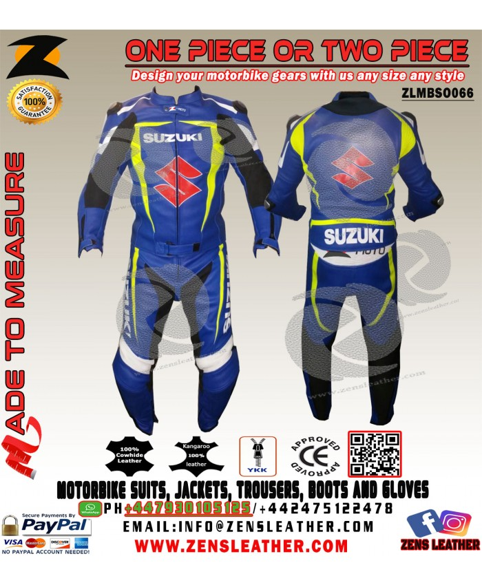 Two piece motorbike suit racing leather jacket and trouser free back protector