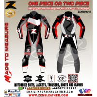 Zens GP Plus Venom One Piece Leather Suit in black and red