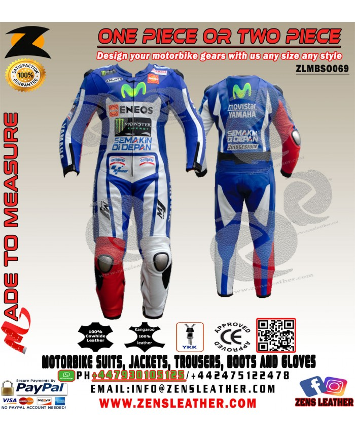 Jorge Lorenzo Yamaha Movistar Motorbike Leather Suit style