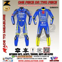 Custom made LEATHER RACE SUIT similar to ALEX RINS ECSTAR in MOTOGP 2018