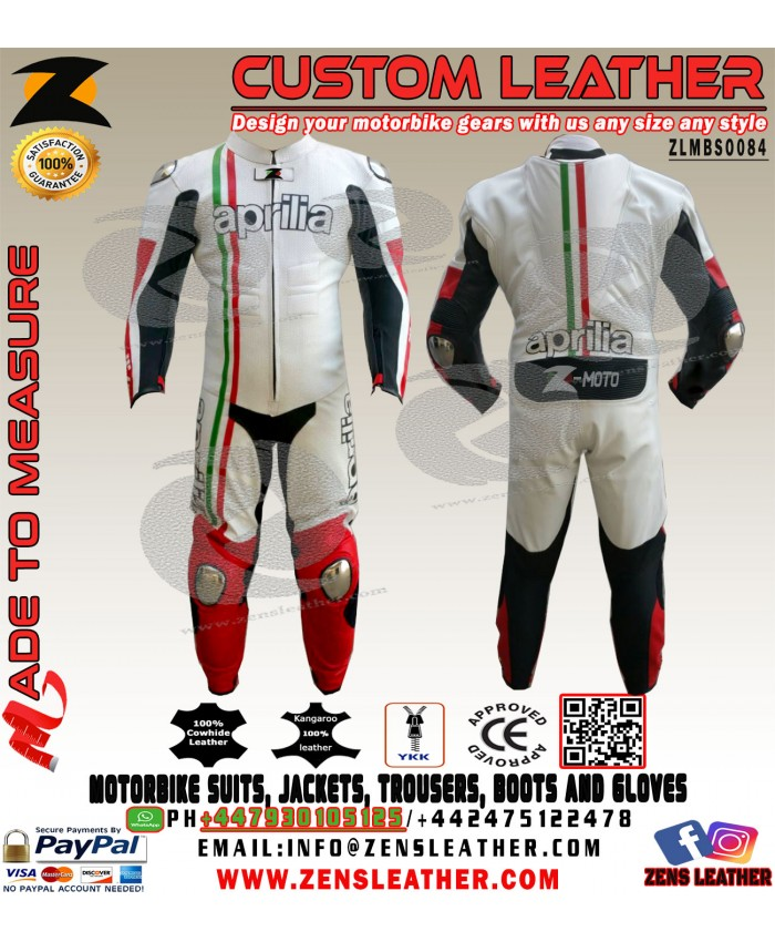 Aprilia racing leather suit with italian flag lining one piece gear