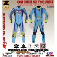Bespoke Suzuki Rizla style Motorbike Race Leather Suit MotoGP Biker apparel