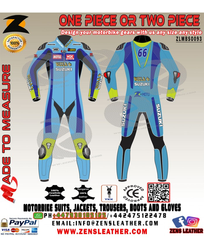 Suzuki Rizla Motorbike Race Leather Suit  MotoGP Biker apparel
