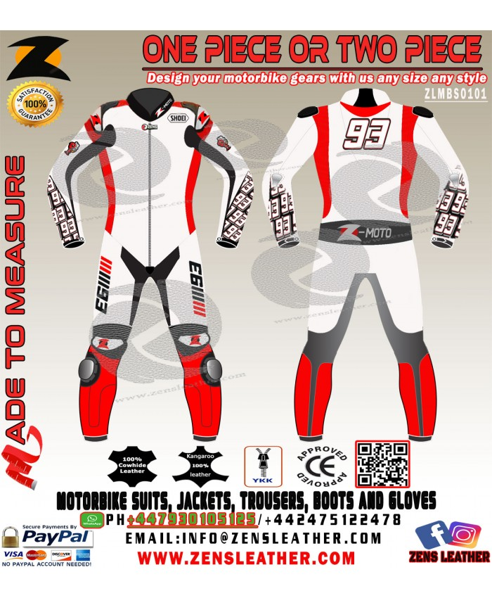 Marc marquez honda test style leather suit in white one piece marc 93 white suit