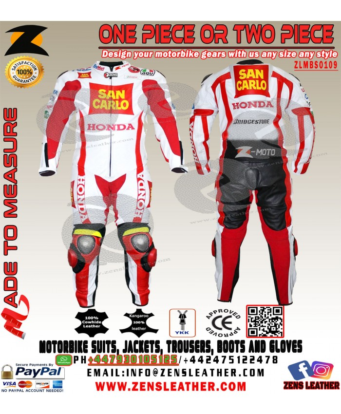 Honda San Carlo Motorcycle Street Race Leather suit one piece or two piece