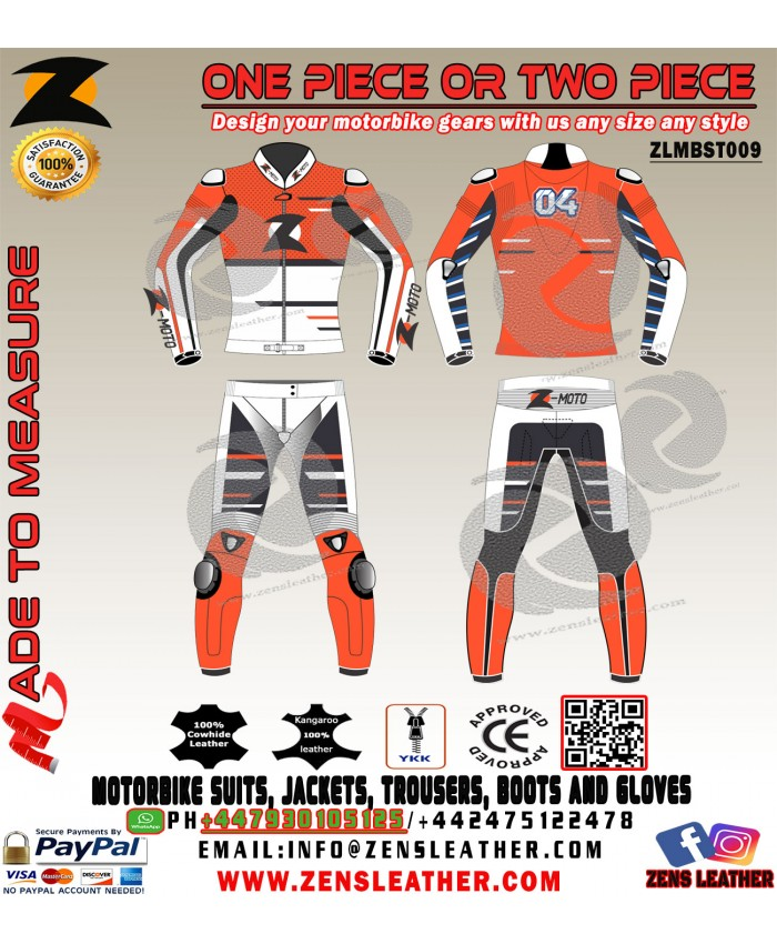 Ktm oranage two piece leather suit racing bike gears 2018 any size and colour