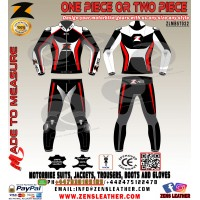 Two piece zens leather suit match with your motorbike with red lining any size