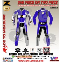 Motorbike leather suit blue Yamaha racing apparel one piece motorcycle gear
