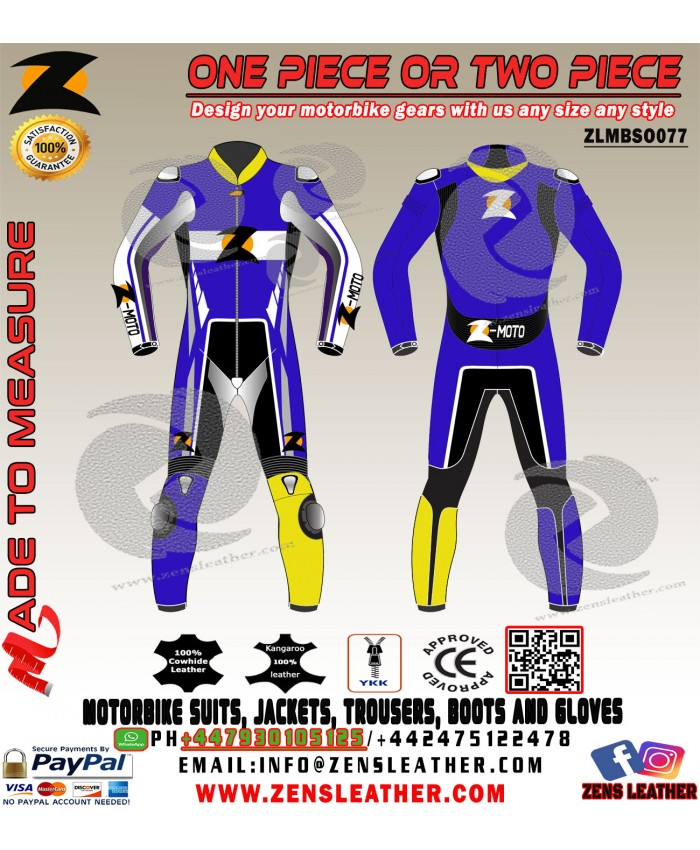 yamaha blue kangaroo motorbike leather suit free delivery
