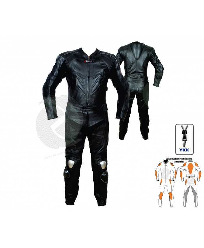 Motorbike leathers motorcycle leather two piece suit - black leather jacket with matching leather trouser comes with CE armours
