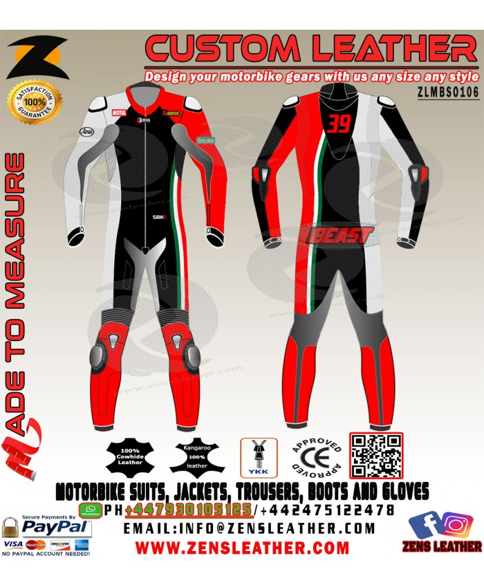 Super bike leather suit racing suit italian flag strip one piece apparel with speed hump motorbike race track suit