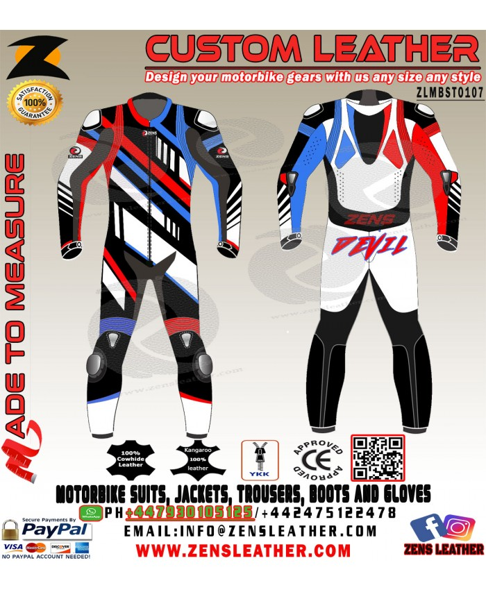 Racing bike leather suit in multi colour in kangaroo leather super bike apparel