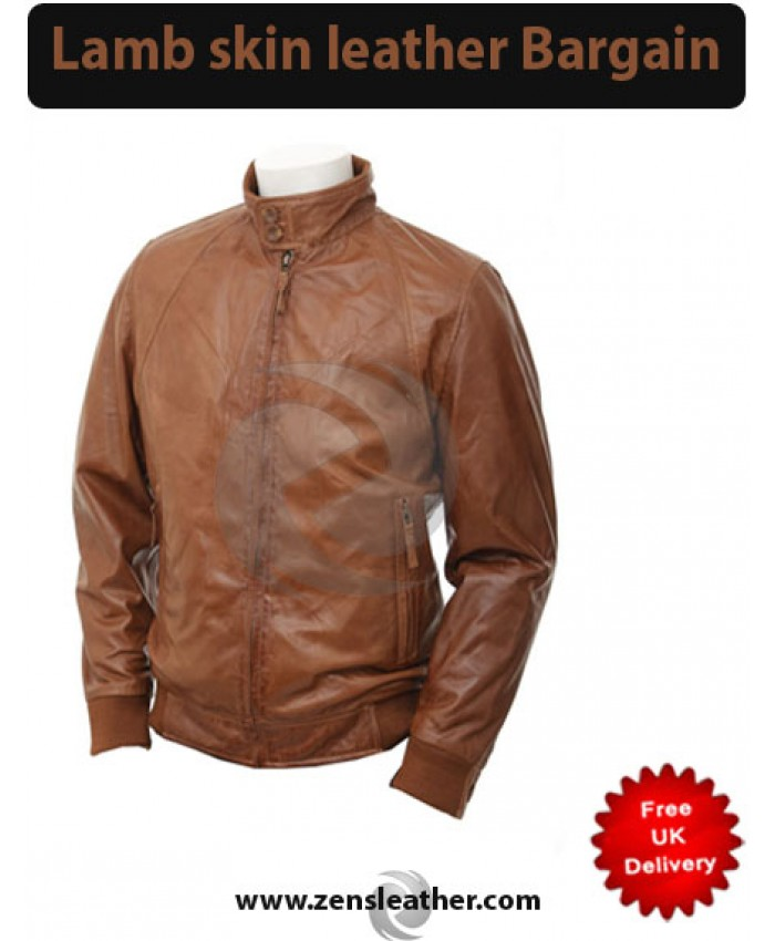 Men brown tan leather jacket
