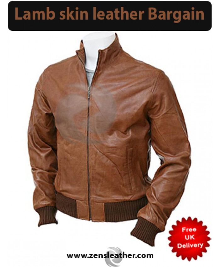 classic bomber brown leather jacket in lamb skin