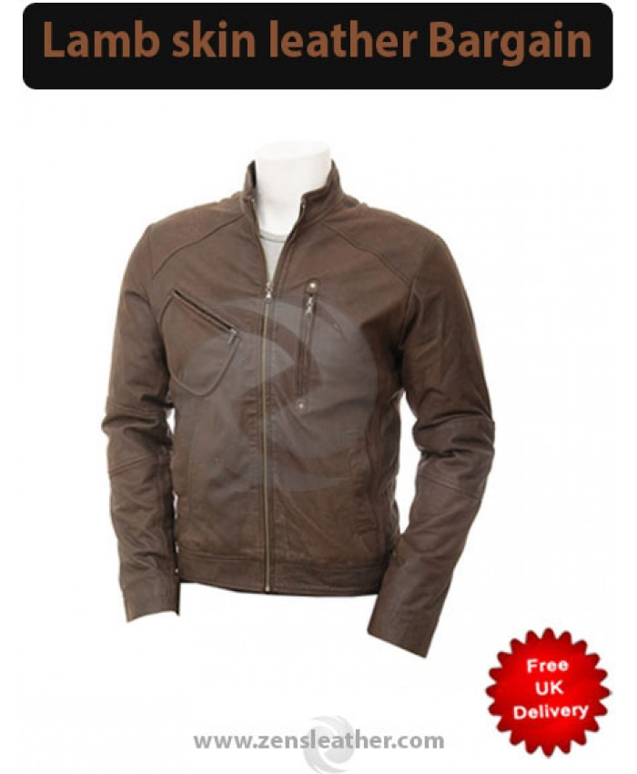 Dark brown distress leather jacket men fashion wear
