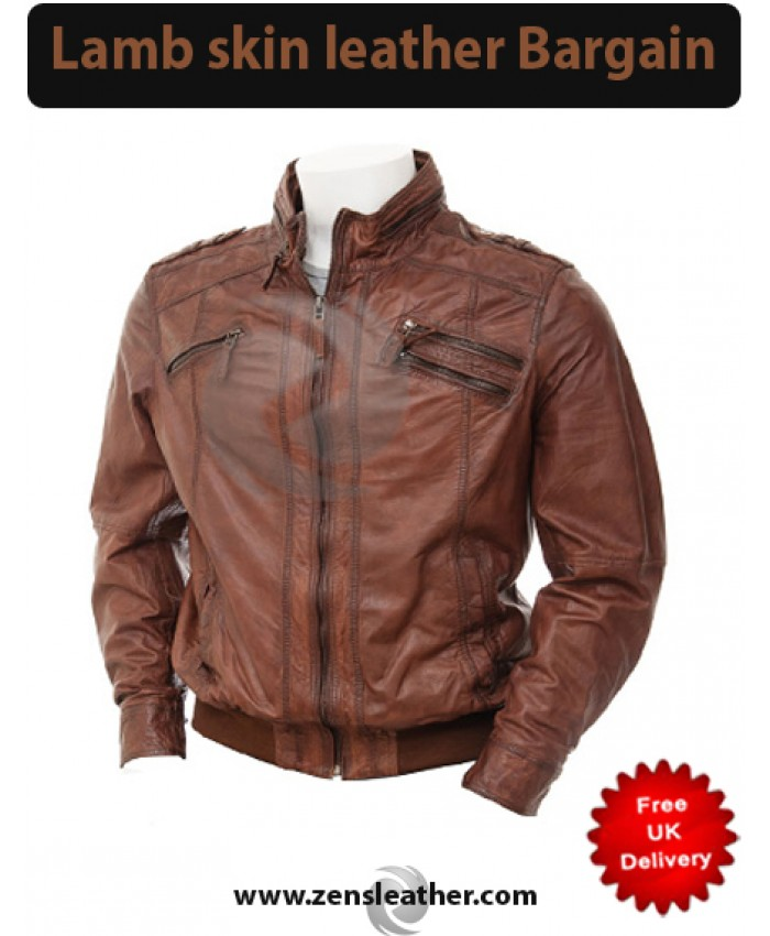 Fashion Leather Jacket in brown leather