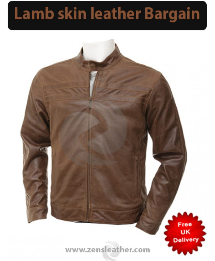 Fashion brown Leather quilt Jacket