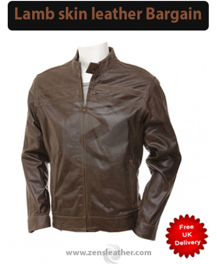 Mens Collarless Distressed Brown Leather Motorcycle Jacket