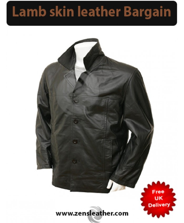 Black Mens Fashion Leather Coat classic button coat