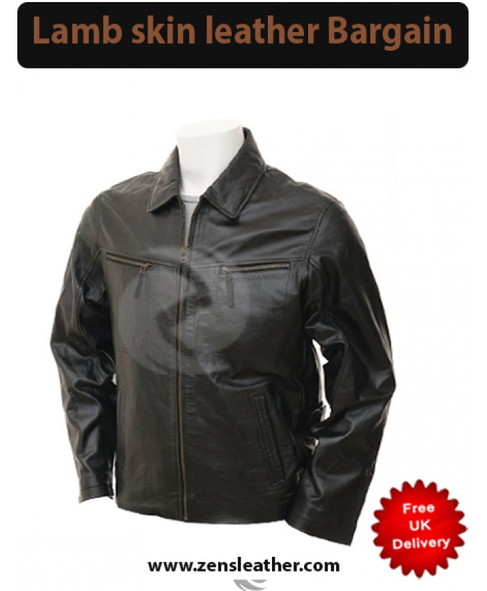 Mens black lambskin bomber jacket