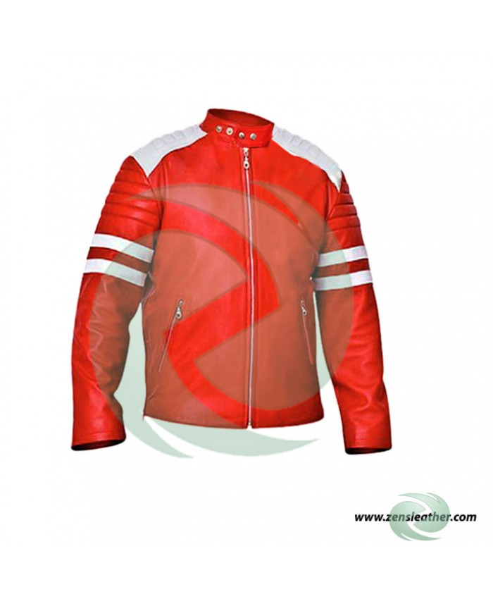 fight club style leather jacket in red with white strips