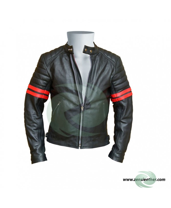 Red Striped Cafe Racer leather jacket fashion black with red strips