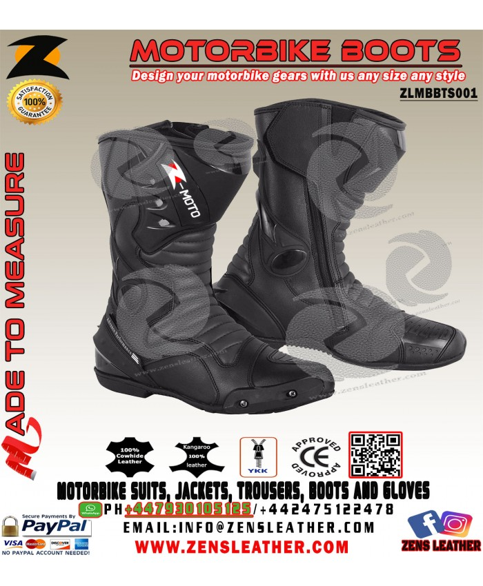 Racing motorbike boots full black all sizes with toe slider