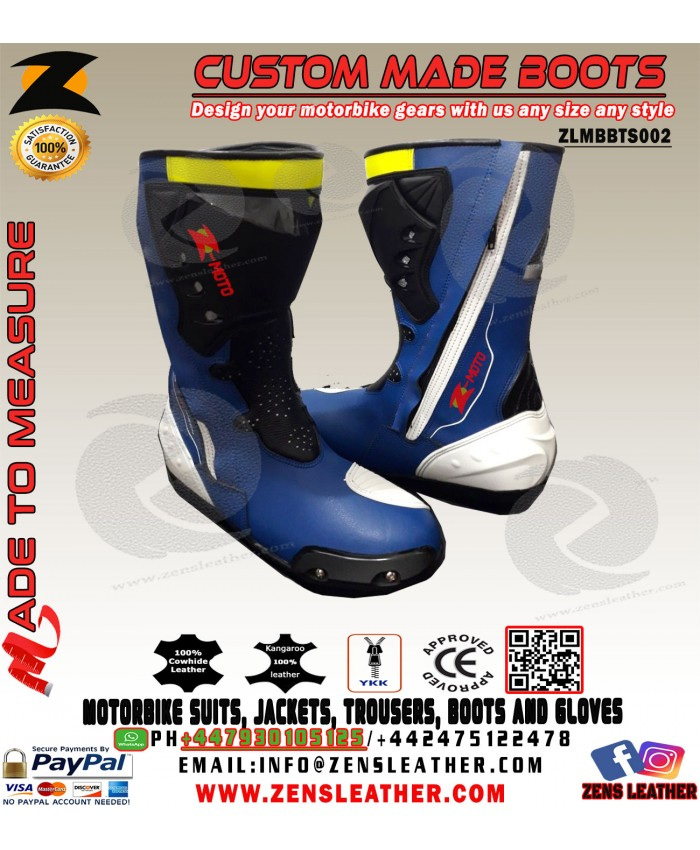 Blue and white motorbike boots racing gear perfect for tracks with slider