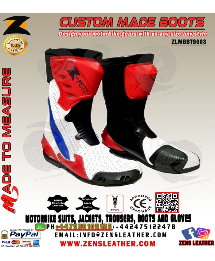 Red and white motorcycle boots racing shoes motogp style gears