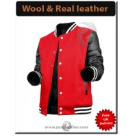 Red Wool Black real Leather Varsity Jacket Letterman Jacket