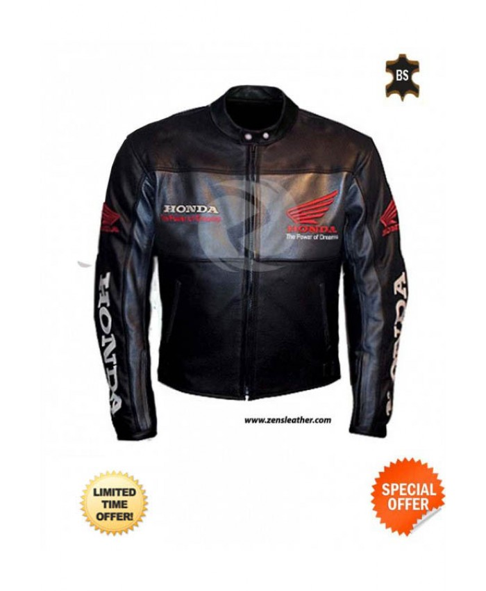Classic Black Honda Motorbike Leather Jacket