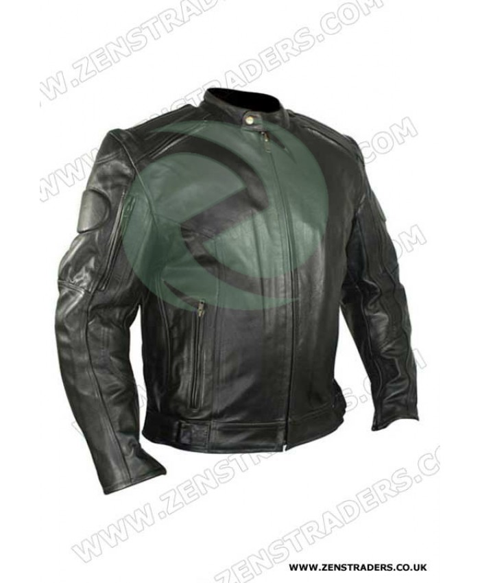 Classic motorbike leather jacket black with armours