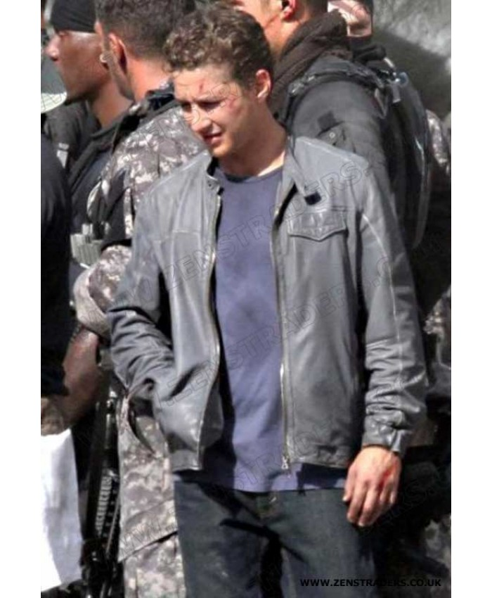 Men's Fashion Transformers 3 Shia LaBeouf Grey Real Leather Jacket