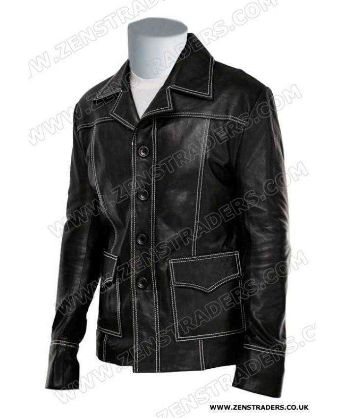 Men's Fashion Fight Club Brad Pitt Black Red Pure Leather Coat Jacket
