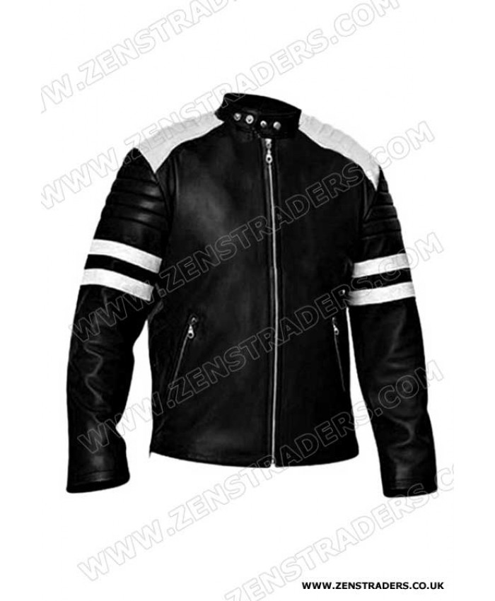 fight club style black motorbike leather with white strips