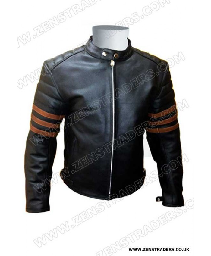 Fashion leather jacket with brown three strips motorbike leather jacket