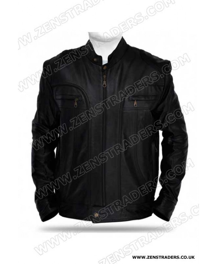 Black Cruiser Leather Jacket cafe racer jacket smart bike jacket