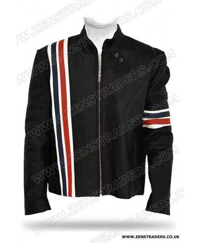 Classic Biker Red and Blue Striped Jacket