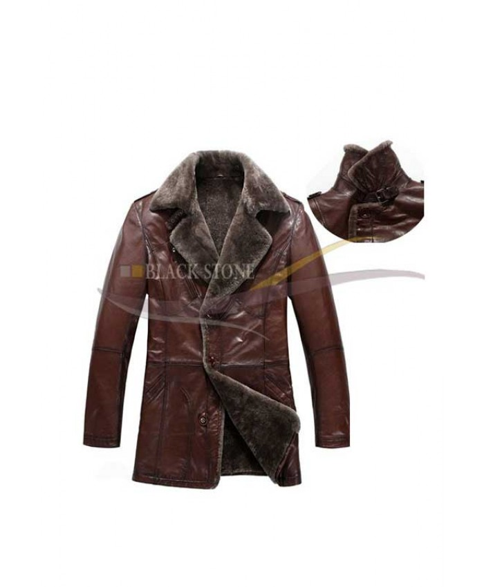 Men brown leather fur coat winter leather coat