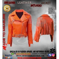 Orange metal studs ladies jacket punk rock star leather jacket