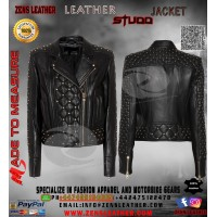 Black metal studs ladies jacket punk rock star leather jacket