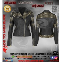 Women's Leather jacket Biker Style black Stud jacket