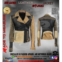 ladies leather jacket with golden stud and spikes punk rock star women jacket